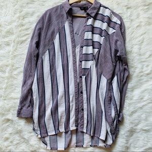 Topshop Striped Flannel Long Sleeve Button Down M